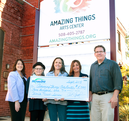 Celebrating the MutualOne Charitable Foundation's grant to Amazing Things Arts Center are from left Donna Gogliormella, manager of MutualOne Bank's Lincoln Street, Framingham office; Alice DiPace, Amazing Things IT Coordinator; Ellen Sturgis, Amazing Things Executive Director; Rachel Stewart, Foundation administrative director; and Joe Fredette, Amazing Things Board Chair.