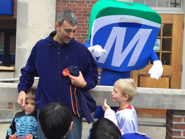 Mo saying hi to children in the Natick Halloween Parade