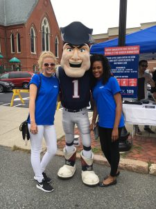 MutualOne Bank employees with Pat the New England Patriots' mascot at Natick Days