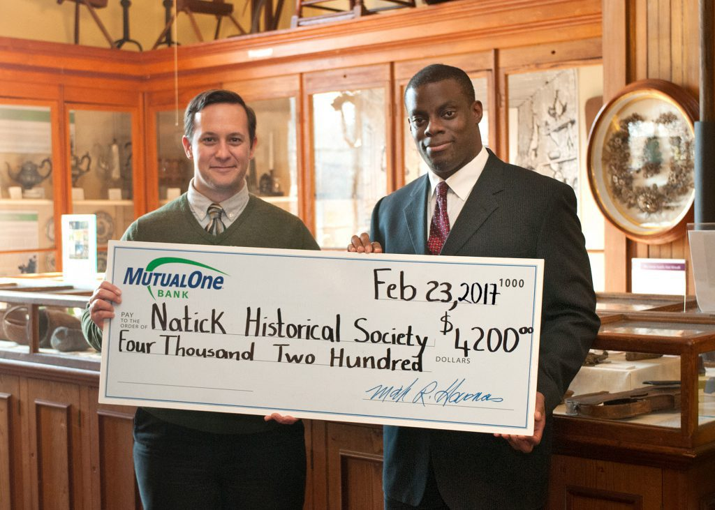 Natick Historical Society check presentation