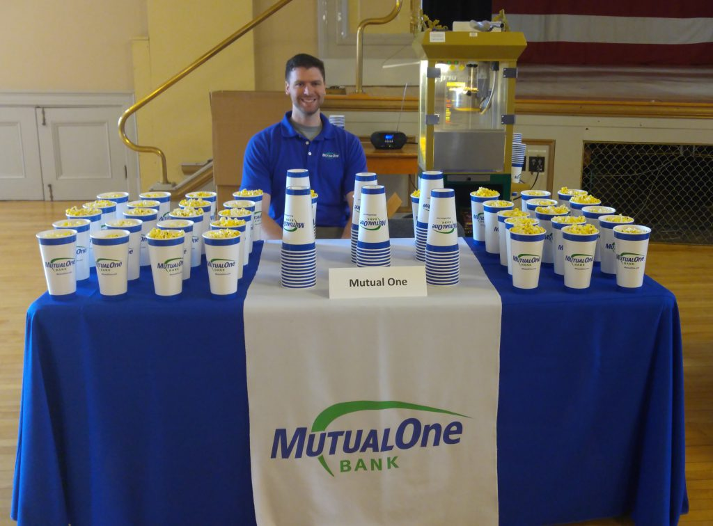 MutualOne Bank employee, Michael Carey at popcorn booth