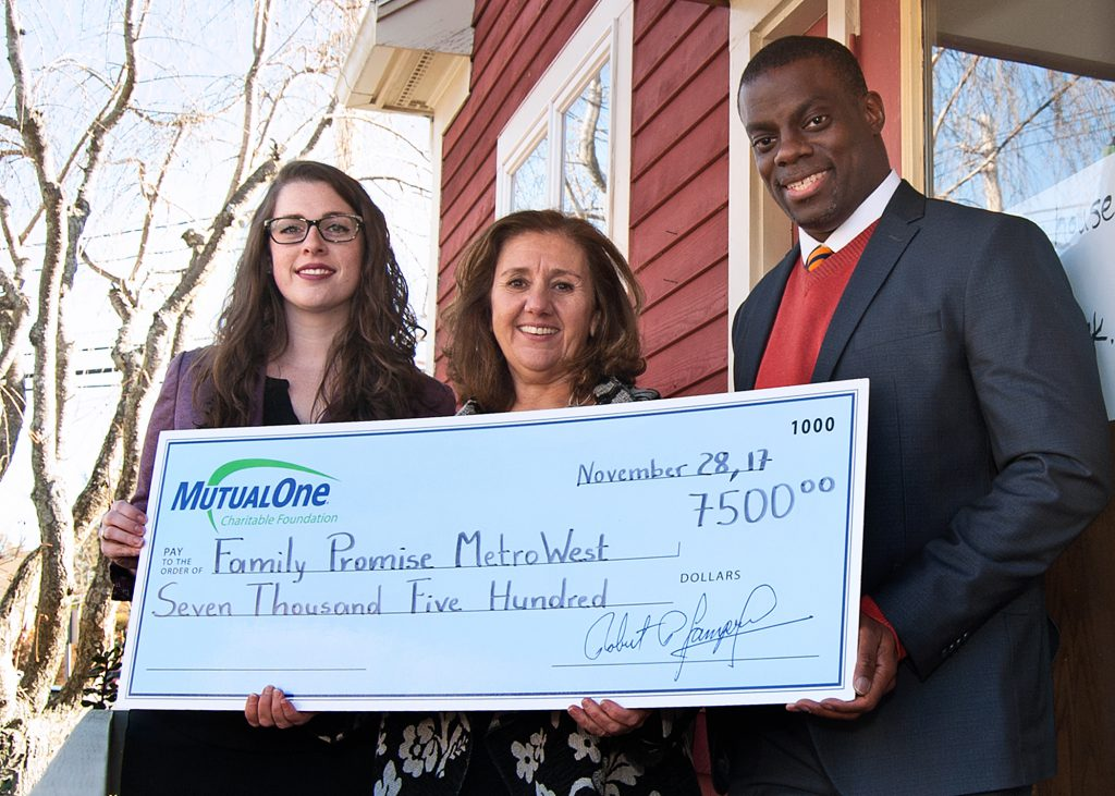 Celebrating the MutualOne Charitable Foundation's $7,500 grant to Family Promise Metrowest are (l-r) Kimberly L. Tyler, MutualOne Bank assistant vice president & assistant controller; Family Promise Metrowest Executive Director Sue Crossley; and Mobolaji Omisore, MutualOne Bank's Natick office manager.