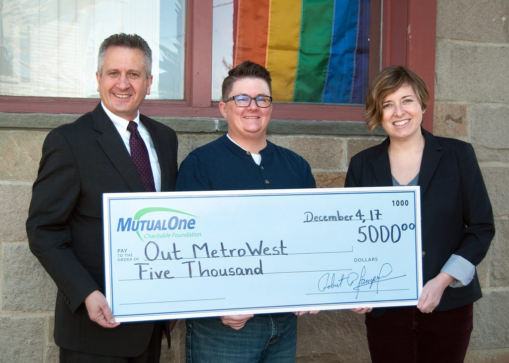 Celebrating the MutualOne Foundation's recent $5,000 grant to OUT MetroWest are (l-r) Steve Sousa, MutualOne Bank executive vice president & COO; OUT MetroWest Interim Executive Director Sawyer Bethel; and Julie Blazar, director of communications and operations at OUT MetroWest.