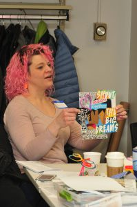 MAPC Planning Meeting women with pink hair presenting