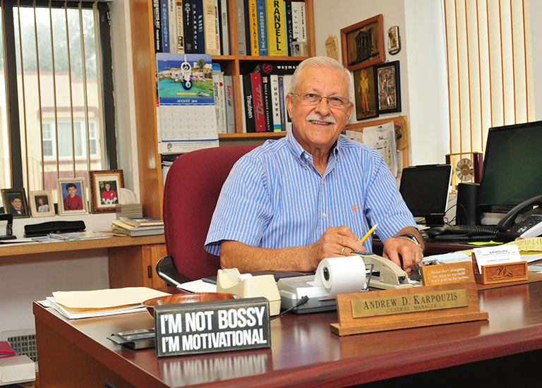 Andy Karpouzi at his desk